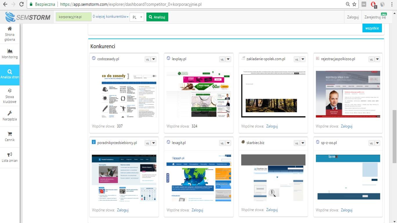 Źródło: screen z 22.03.2017 z analizy strony korporacyjnie.pl na SEMSTORM.com widok sekcji Konkurenci