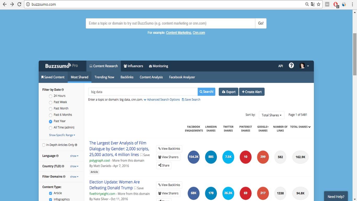 Źródło: screen z 22.03.2017 z podglądem wyglądu narzędzia Buzzsumo.com